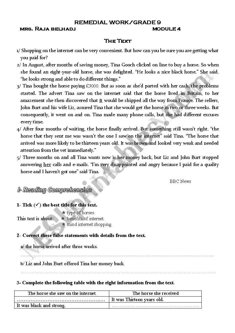 REVIEW PAPERS MODULE 4 GRADE 9 Tunisian program