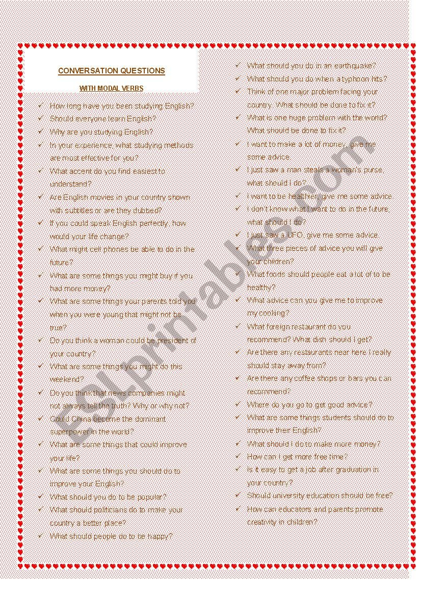 Conversation questions with modal verbs - ESL worksheet by