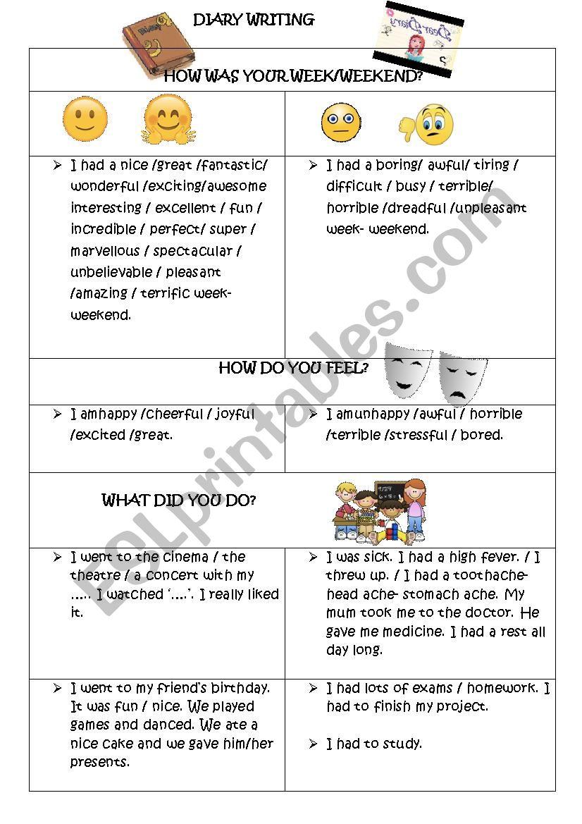 DIARY/JOURNAL WRITING worksheet