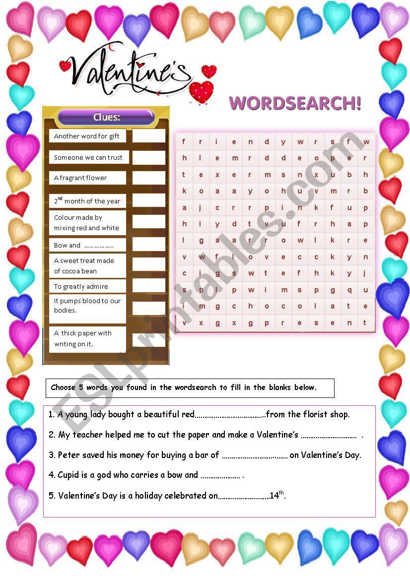 Valentine´s Wordsearch worksheet