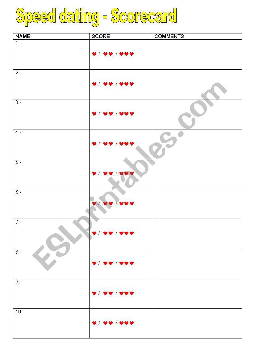 speed dating scorecard templates