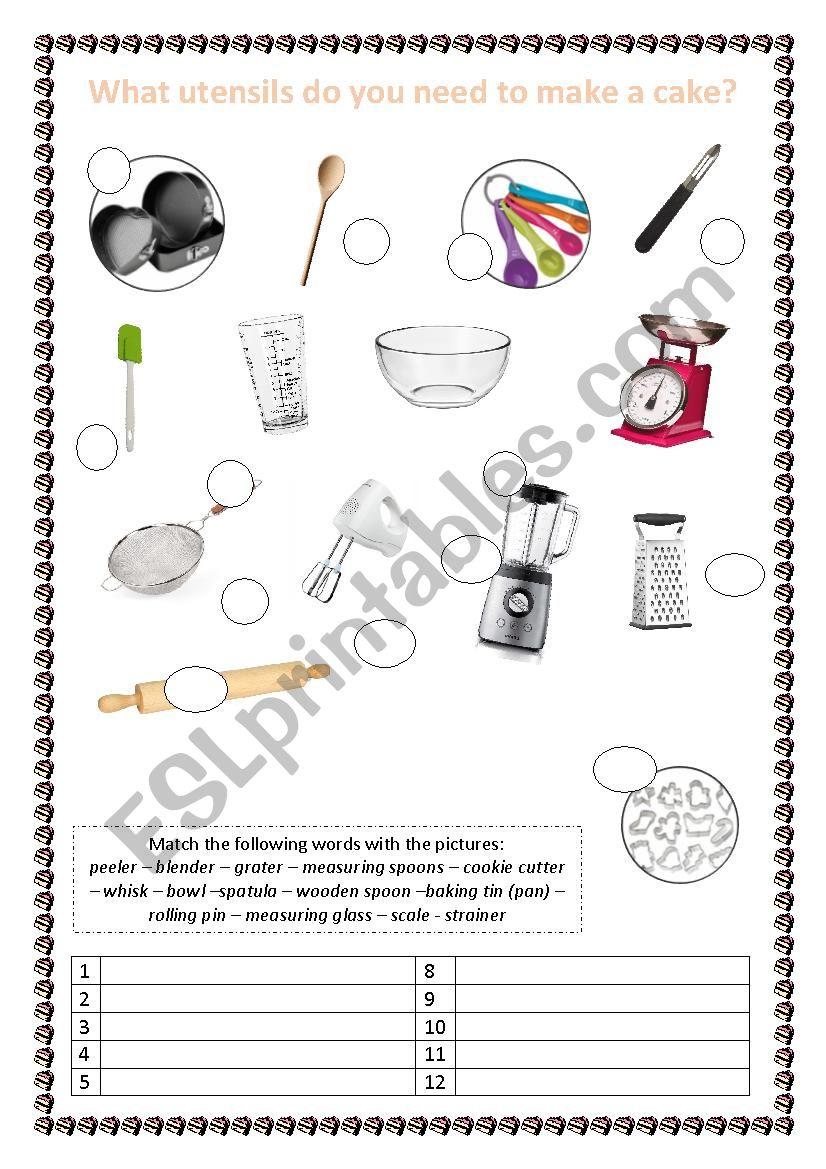 Kitchen Utensils worksheet