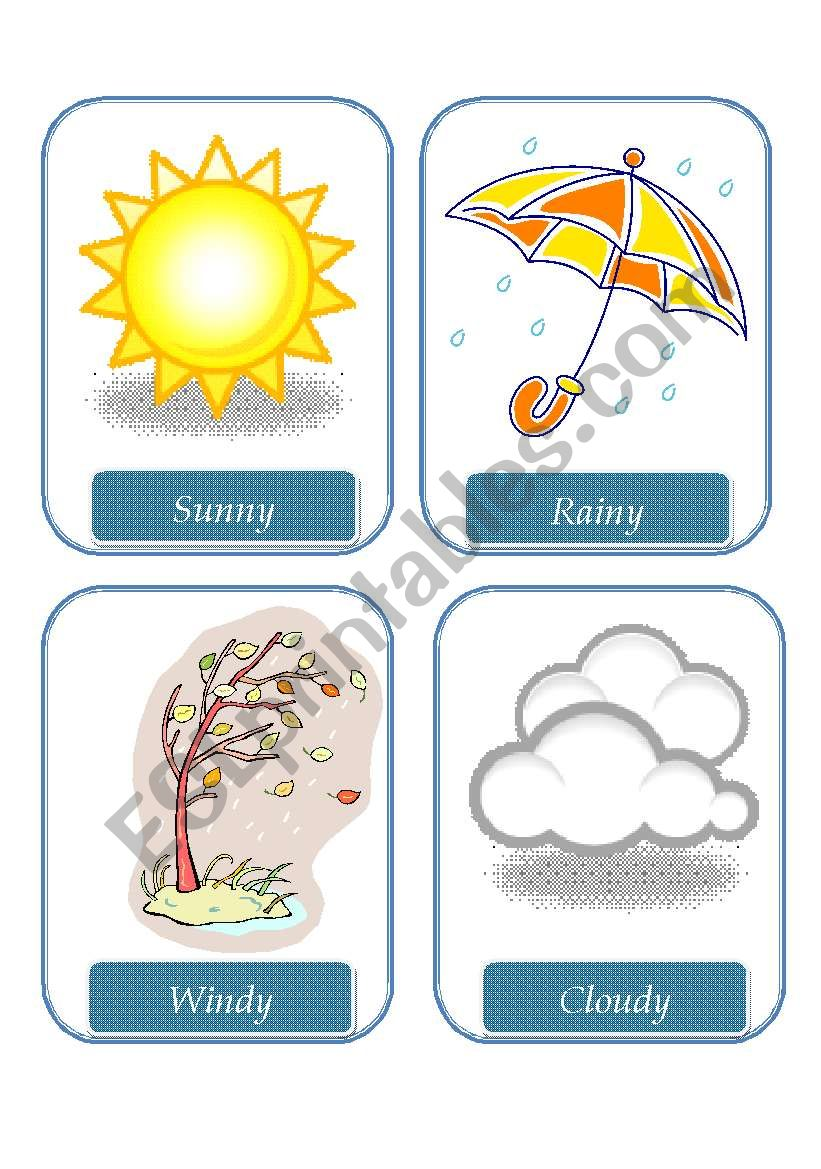 Weather Flashcards Esl Worksheet By Frosty
