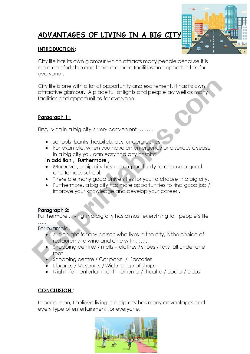 ADVANTAGES OF CITY LIFE  worksheet