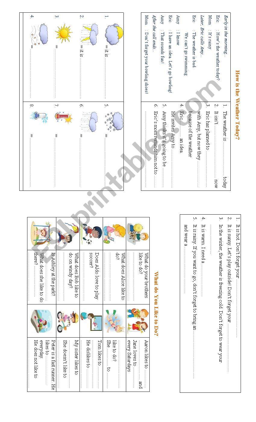 weathers and hobbies worksheet