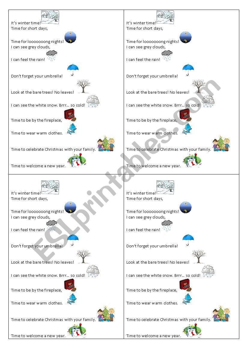 It´s winter time worksheet