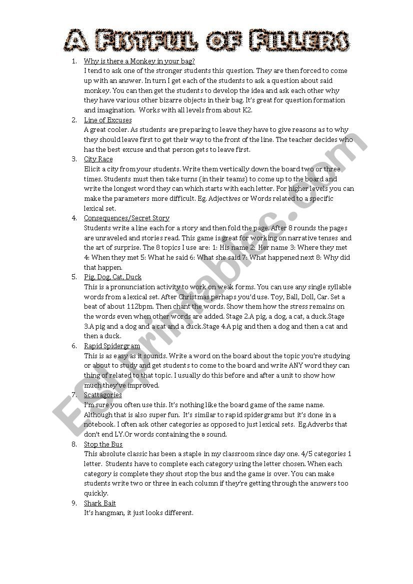 A Fistful of Fillers worksheet