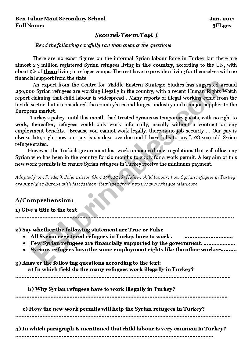 test of thirs year classes worksheet
