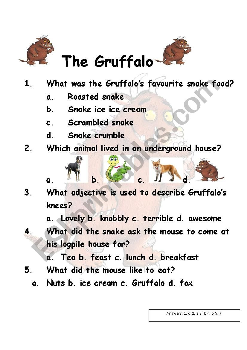 The Gruffalo Worksheet - ESL worksheet by aroosh13