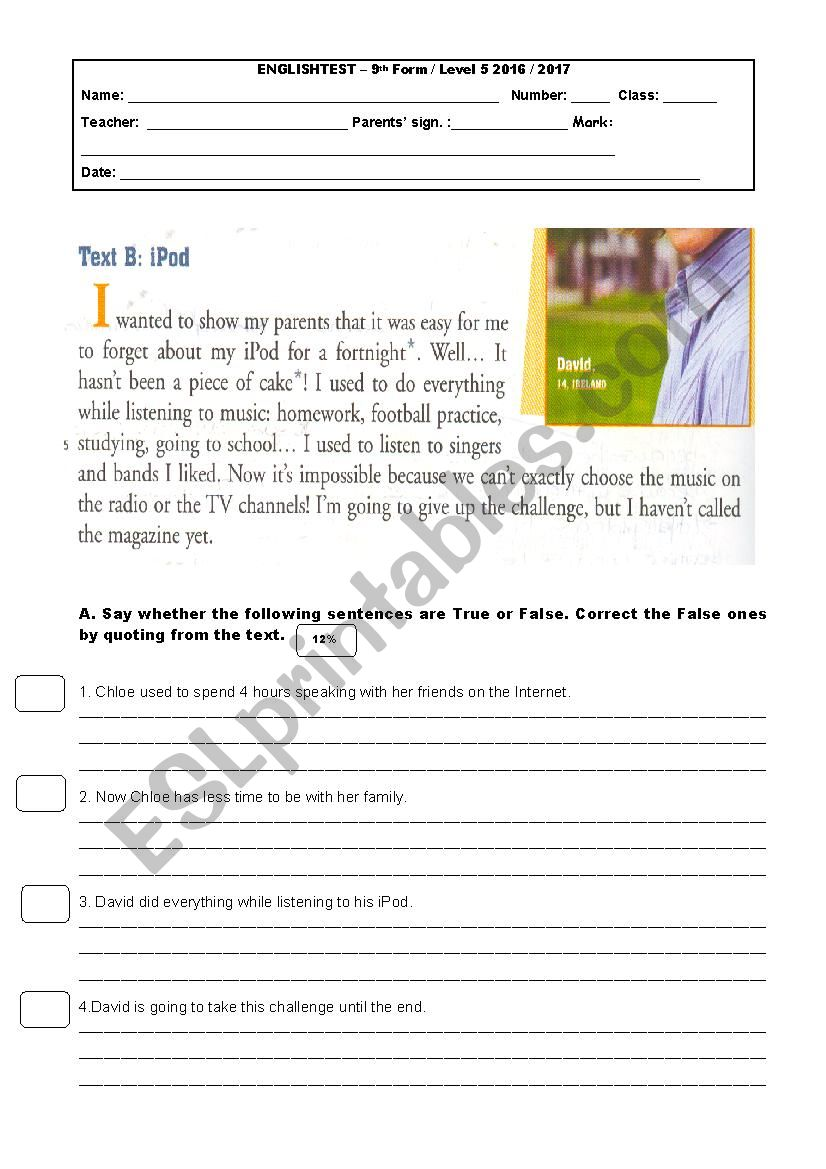 9th grade test tecnhnology 3rd part