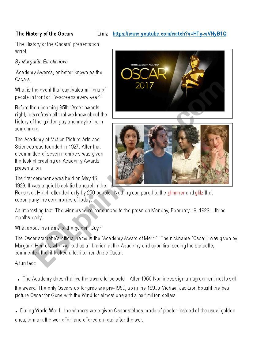 The History of the Oscars worksheet