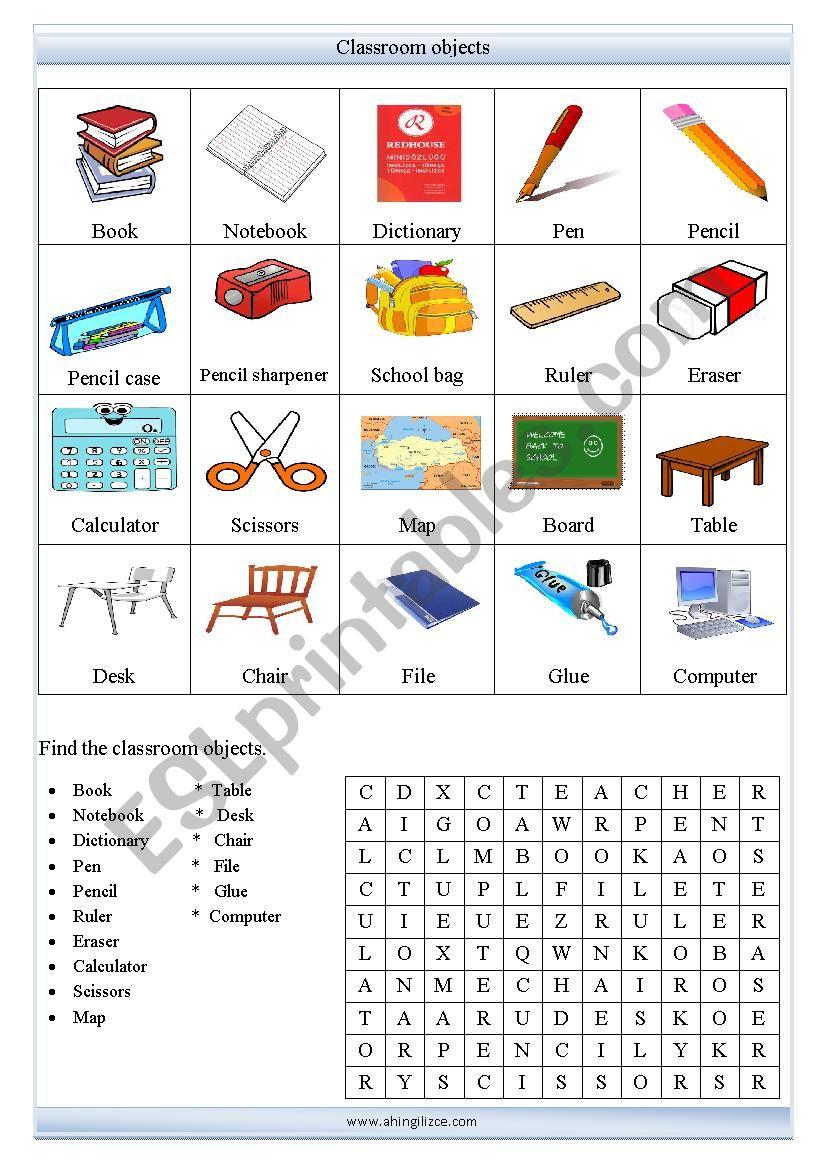 Classroom objects worksheet worksheet