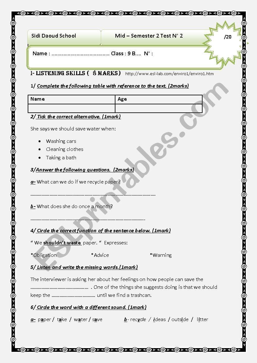 Mid-semester2 Test1 worksheet