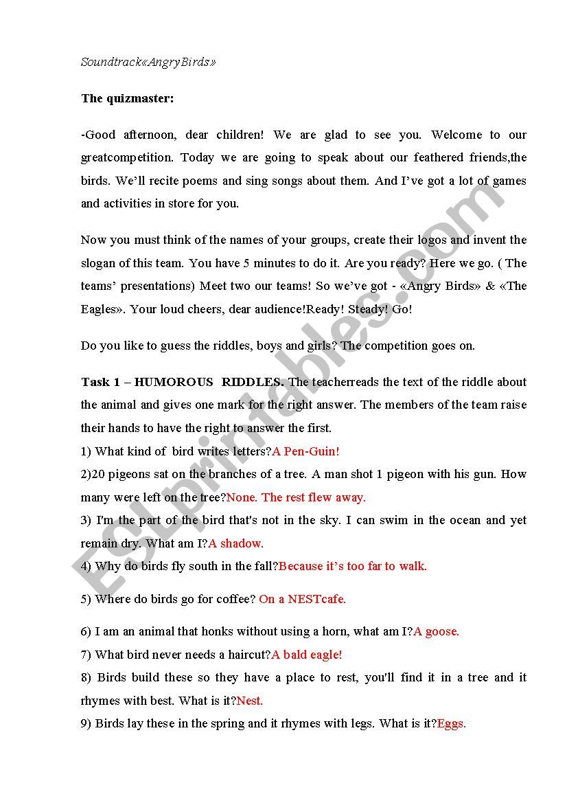 quiz time competition - ESL worksheet by darinka1909
