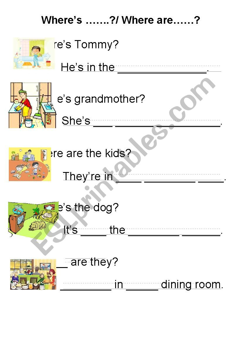 Where is ..../ Where are...? - ESL worksheet by tranlambach