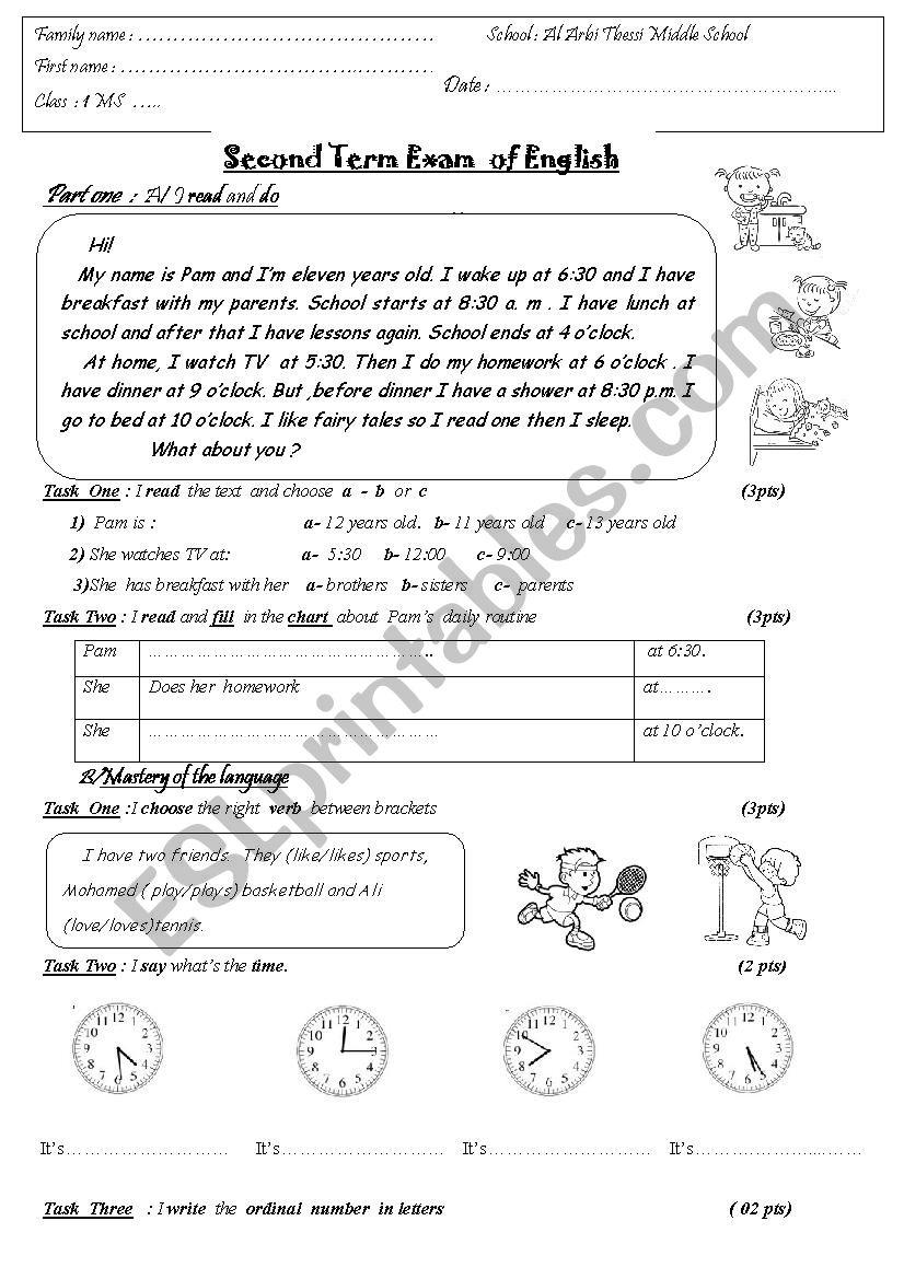 daily routine exam worksheet