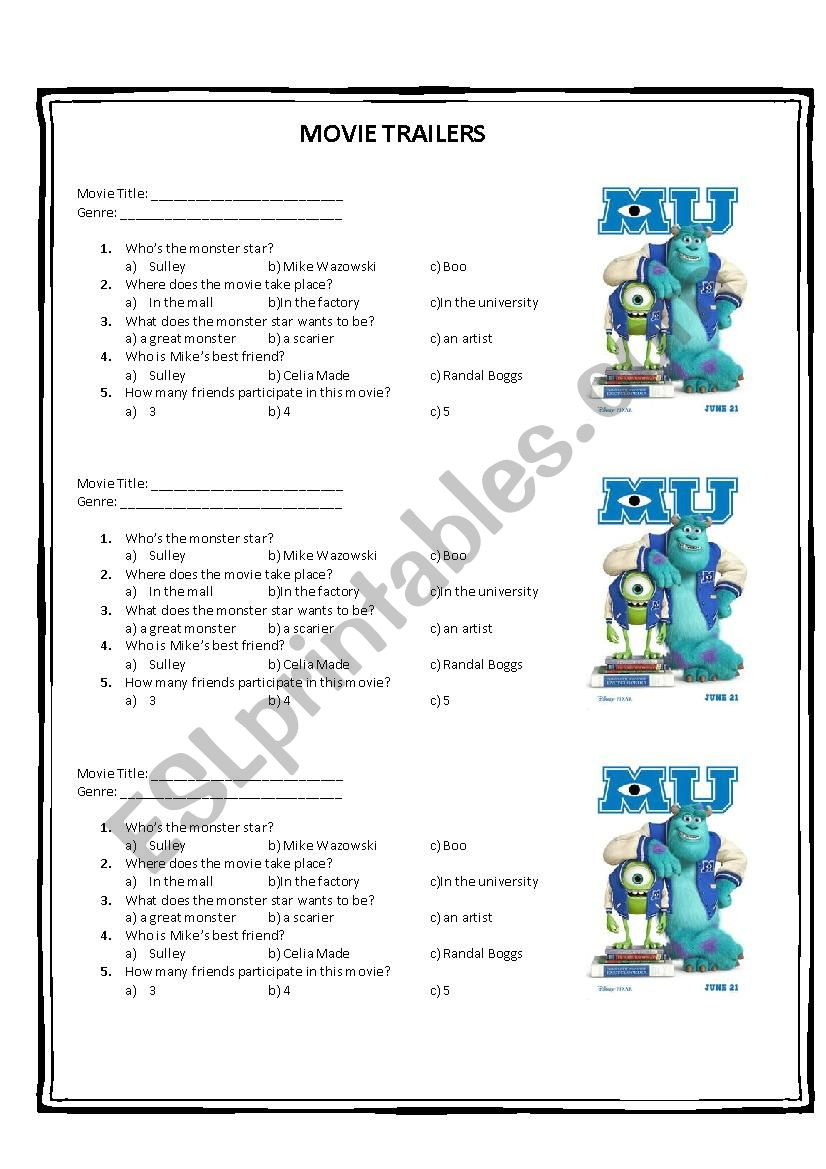 MOVIE TRAILER worksheet