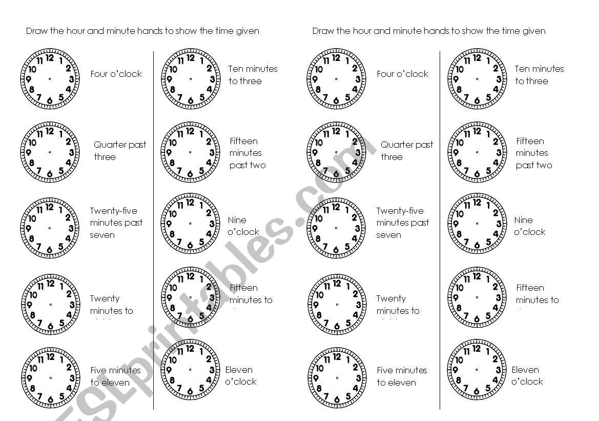 Draw The Hour And Minute Hands Esl Worksheet By Crux41