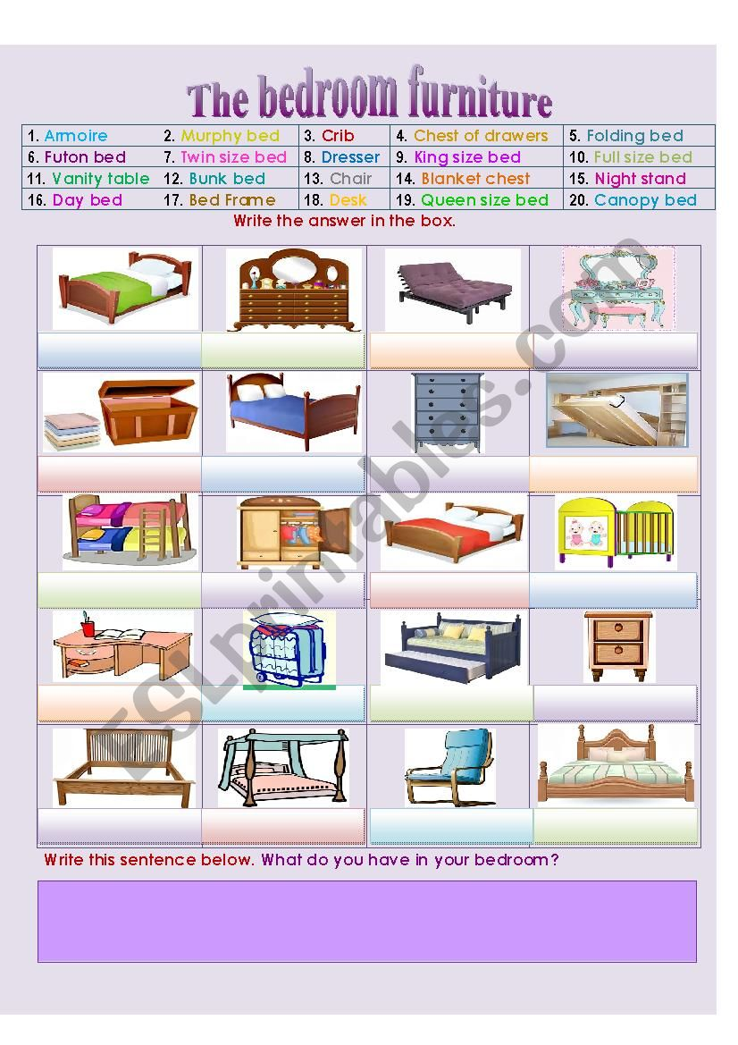 The bedroom furniture and accessories - ESL worksheet by ...