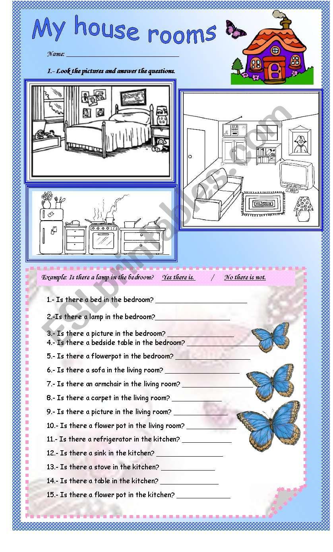 My house rooms worksheet