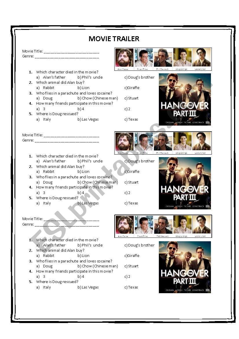 HANGOVER PART III worksheet