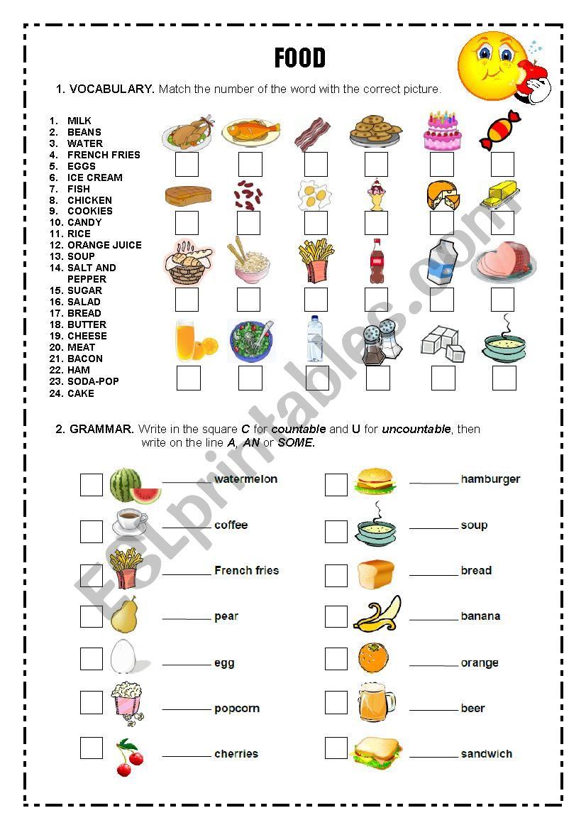 VOCABULARY FOOD worksheet