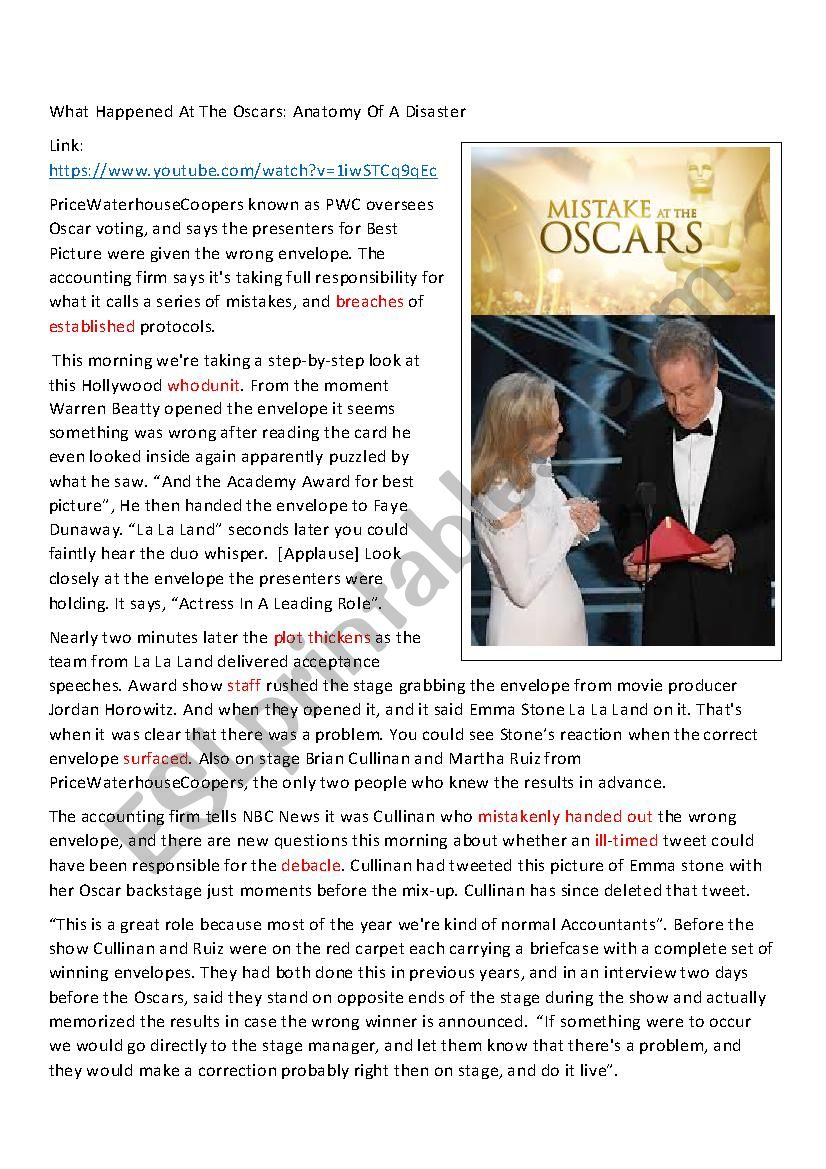 Oscar 2017 Mistake worksheet