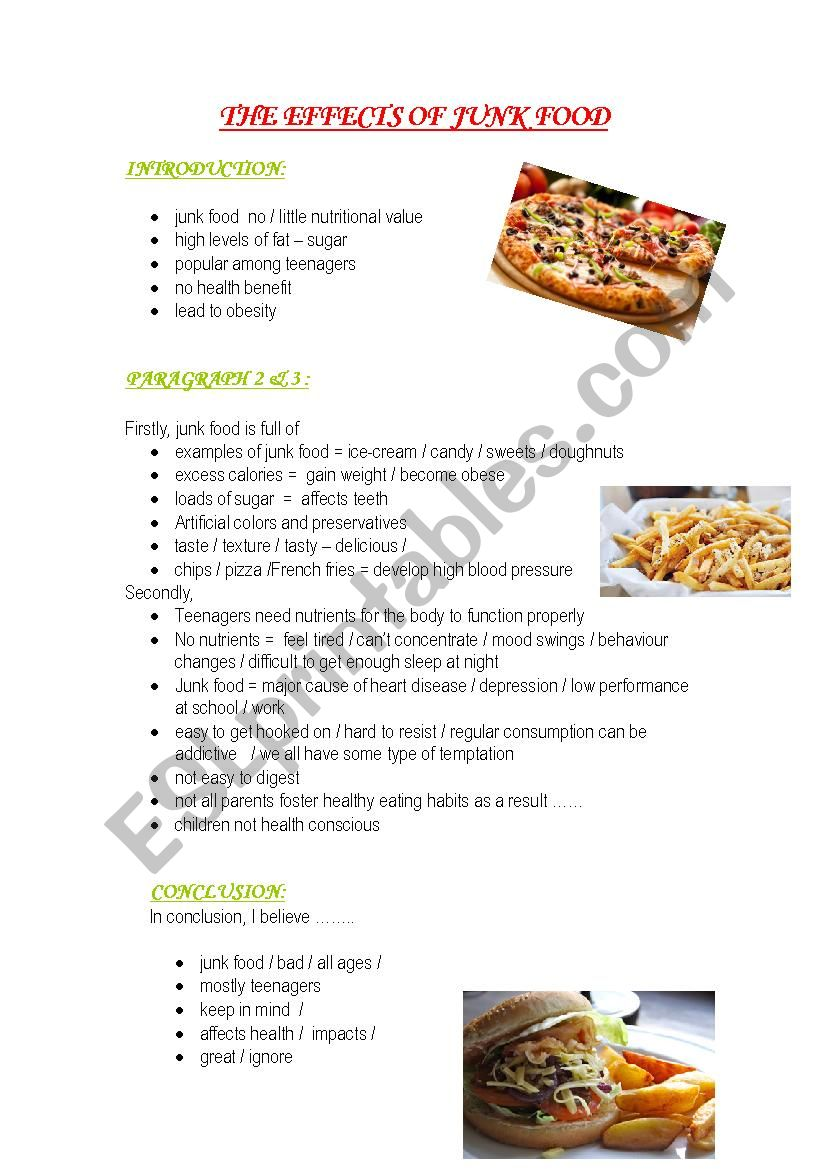 THE EFFECTS OF JUNK FOOD worksheet