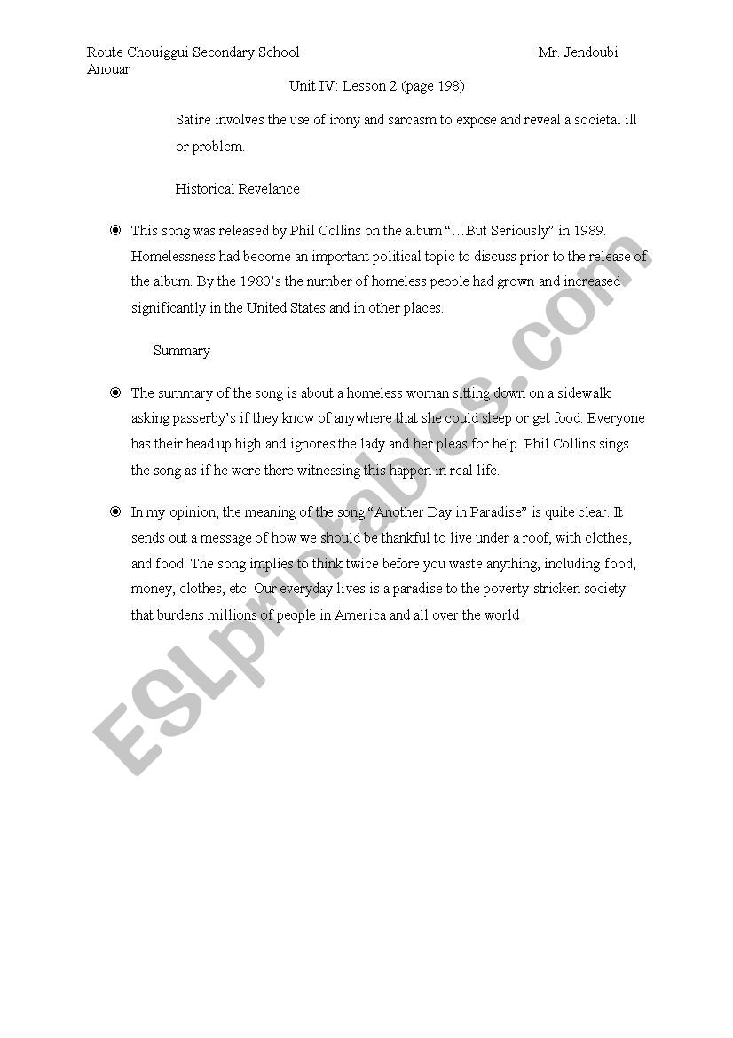 Another Day In Paradise Esl Worksheet By Fadoula