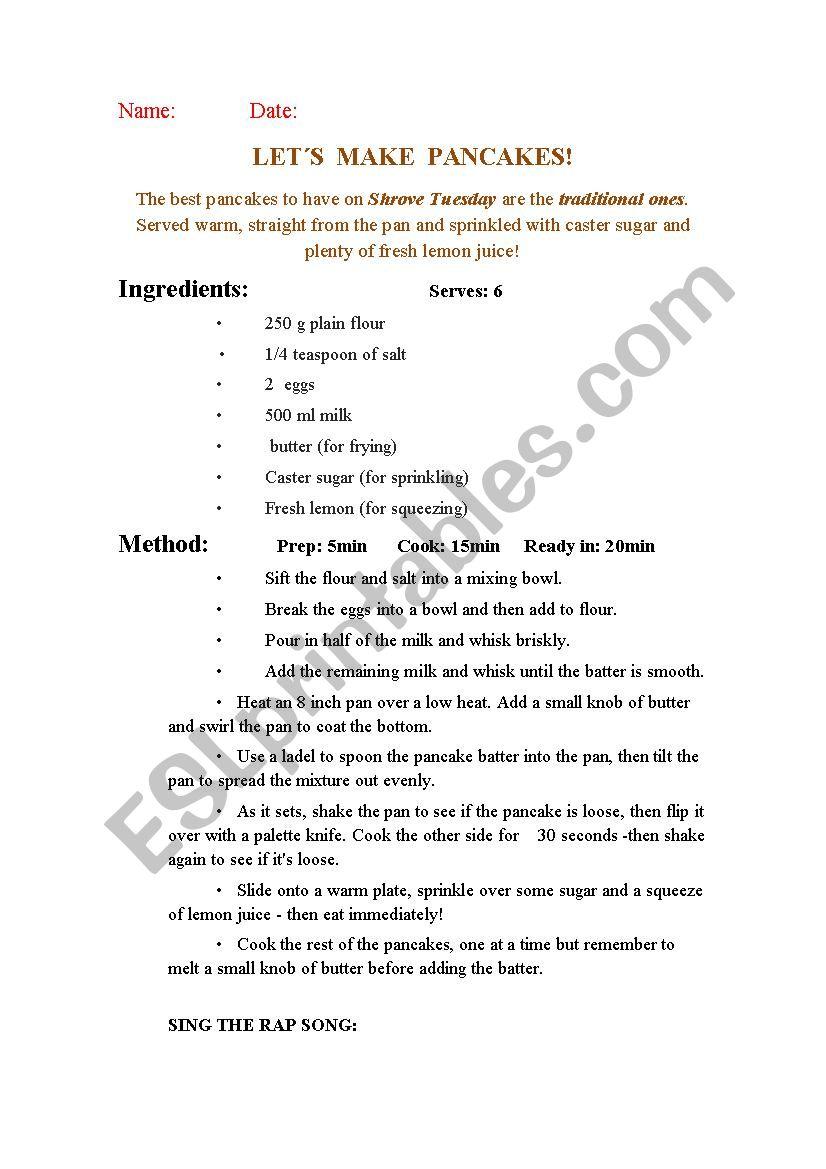 PANCAKES RECIPE worksheet