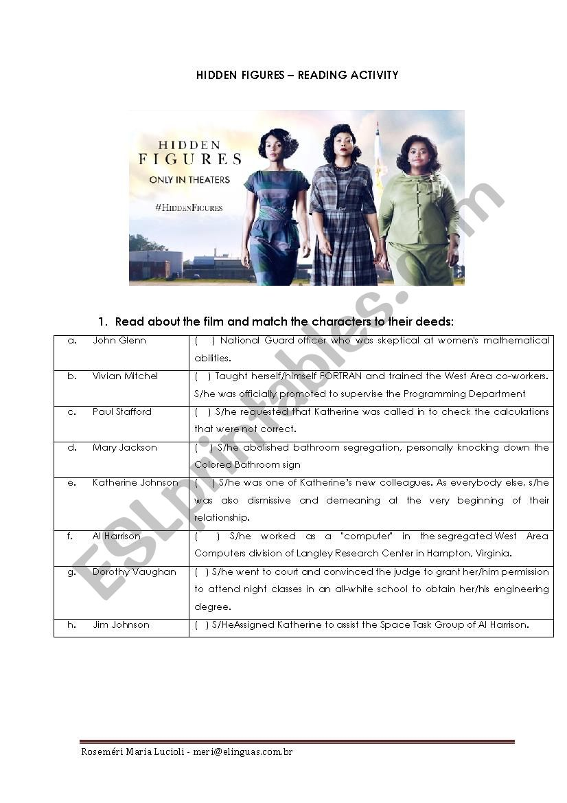 Hidden Figures Reading Activity Esl Worksheet By Meri2015