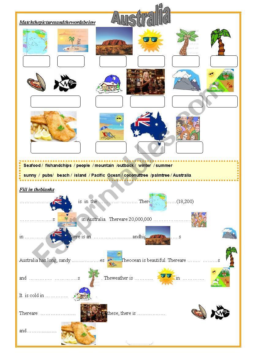 Australia Worksheet worksheet