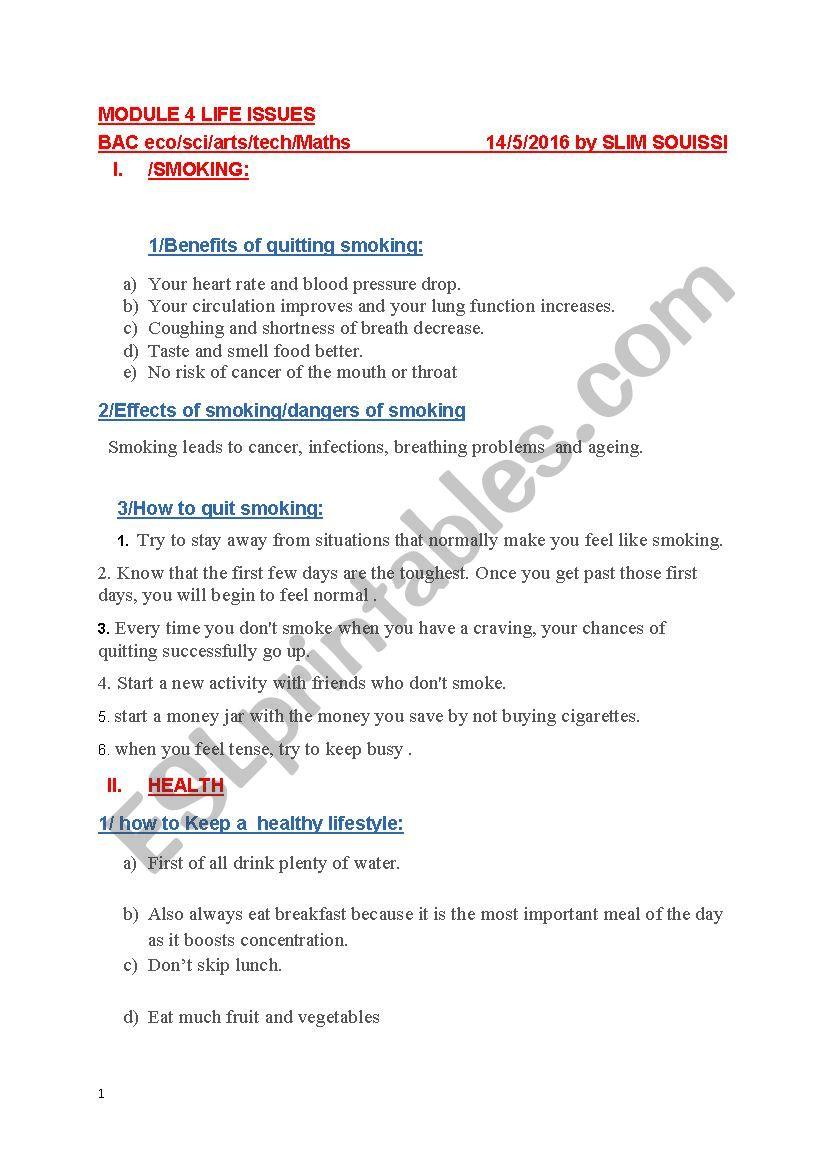bac review worksheet