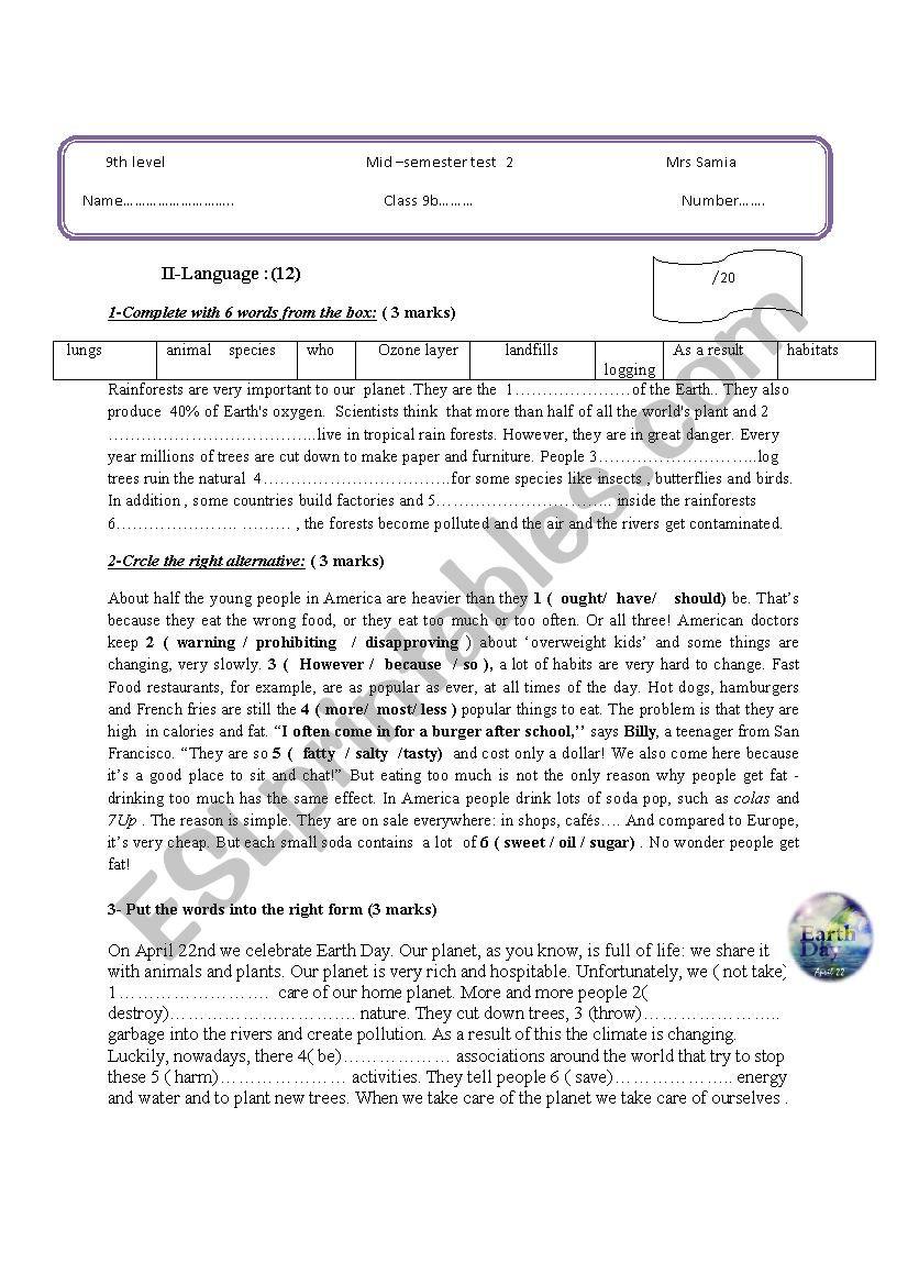 Mid -Semester Test 1 worksheet