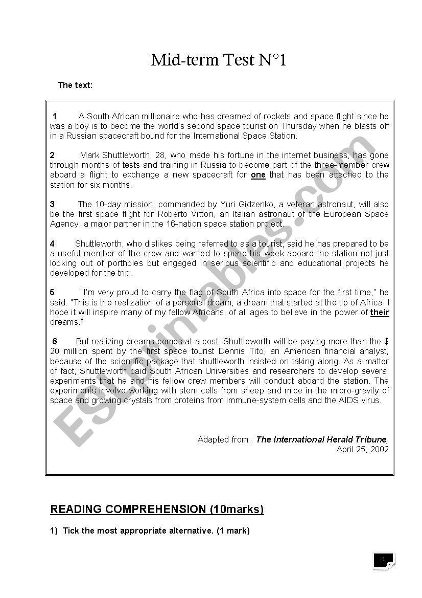 - 4th Grade Mid-term Test 1 - ESL Worksheet By Benhammouda