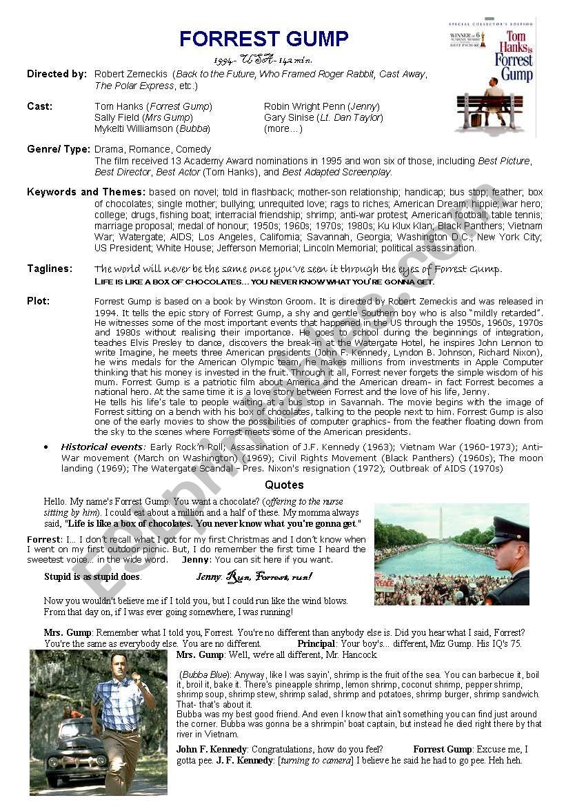 Forrest Gump - ESL worksheet by customer