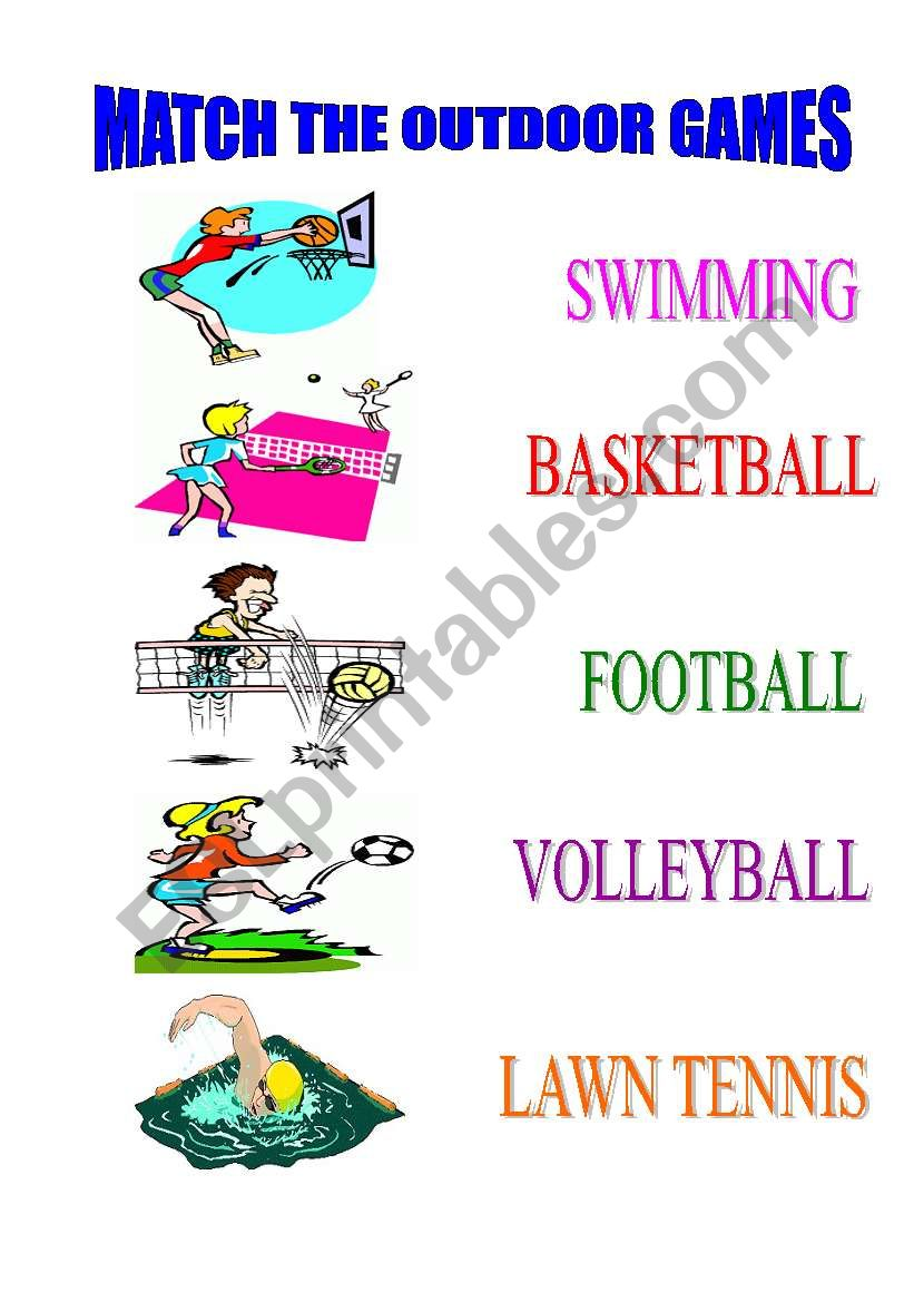 MATCH THE OUTDOOR GAMES worksheet