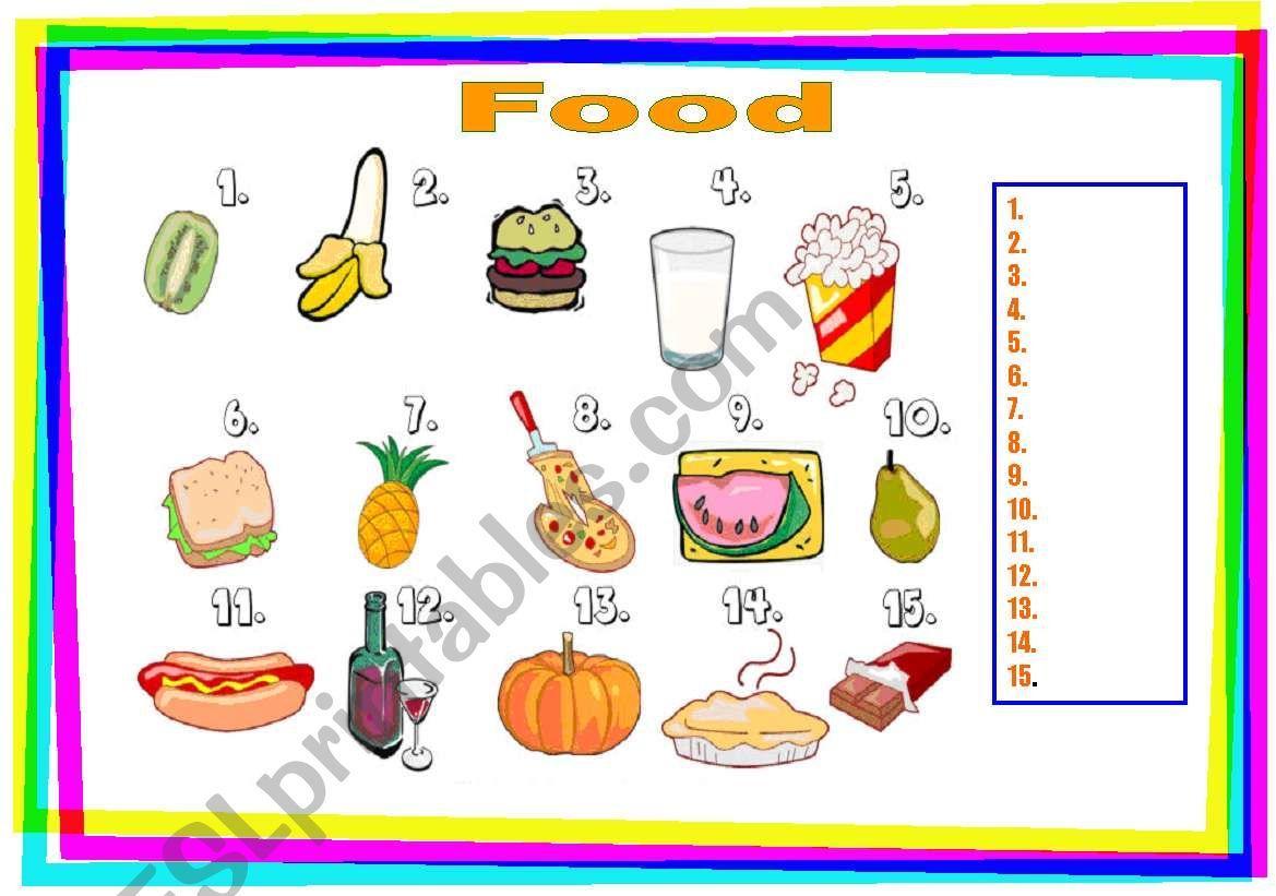 food match worksheet