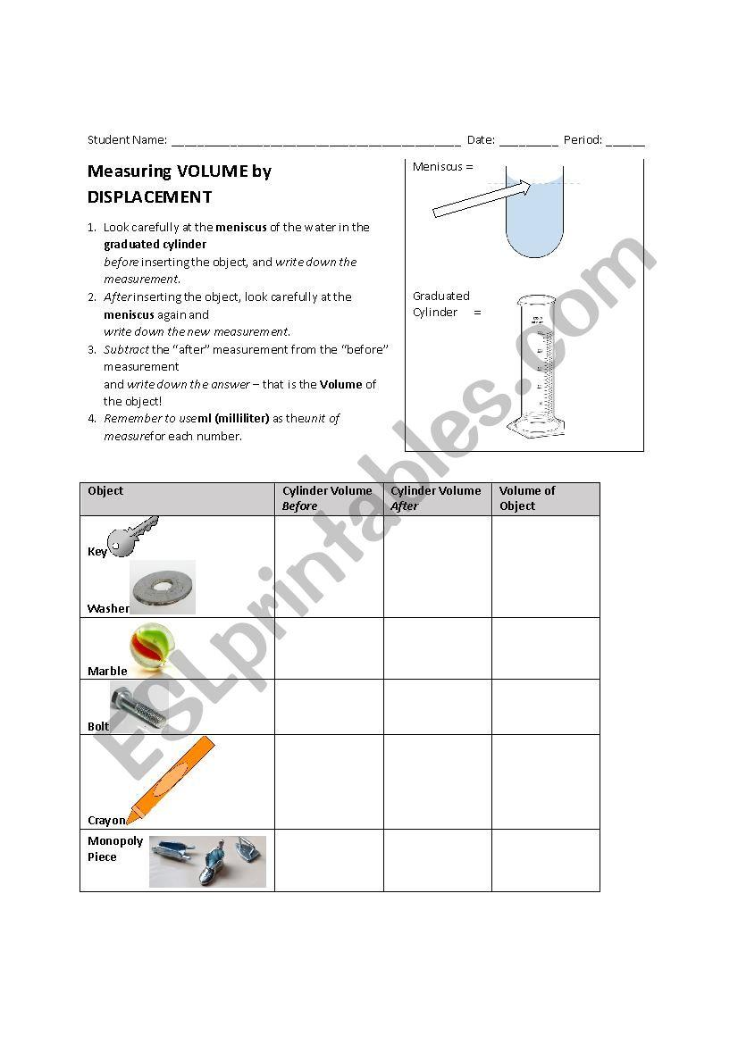 Measuring Volume By Displacement Esl Worksheet By Huntwa