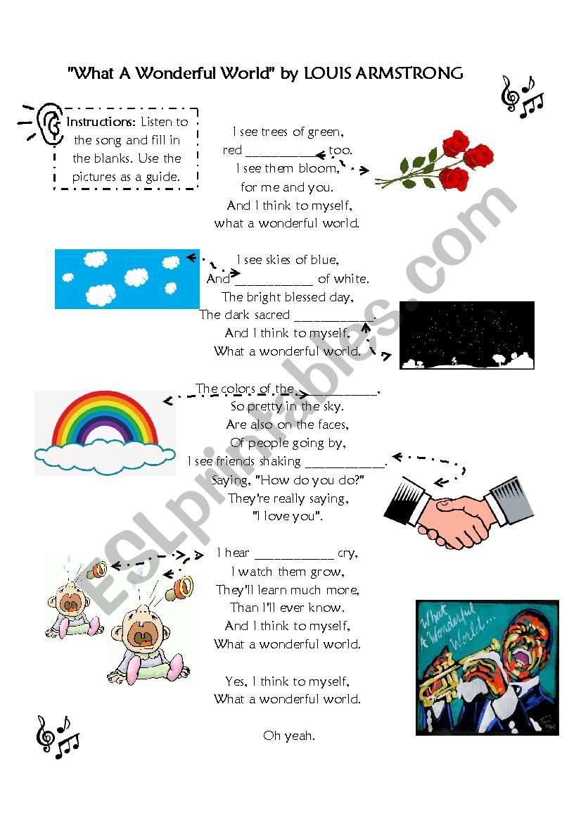 Song: What a Wonderful World worksheet