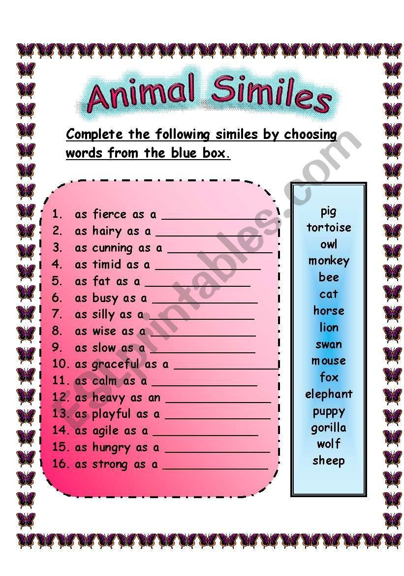 ANIMAL SIMILES WORKSHEET (29.07.2008)