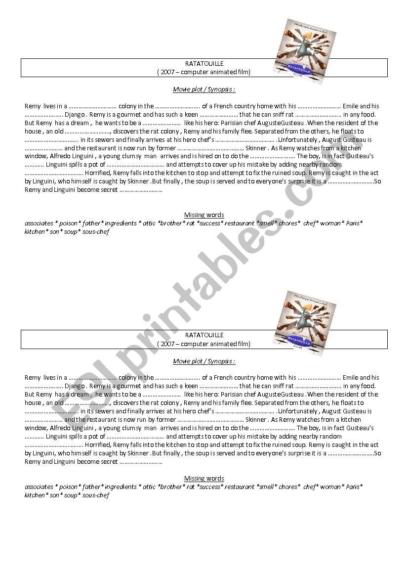 Ratatouille  worksheet