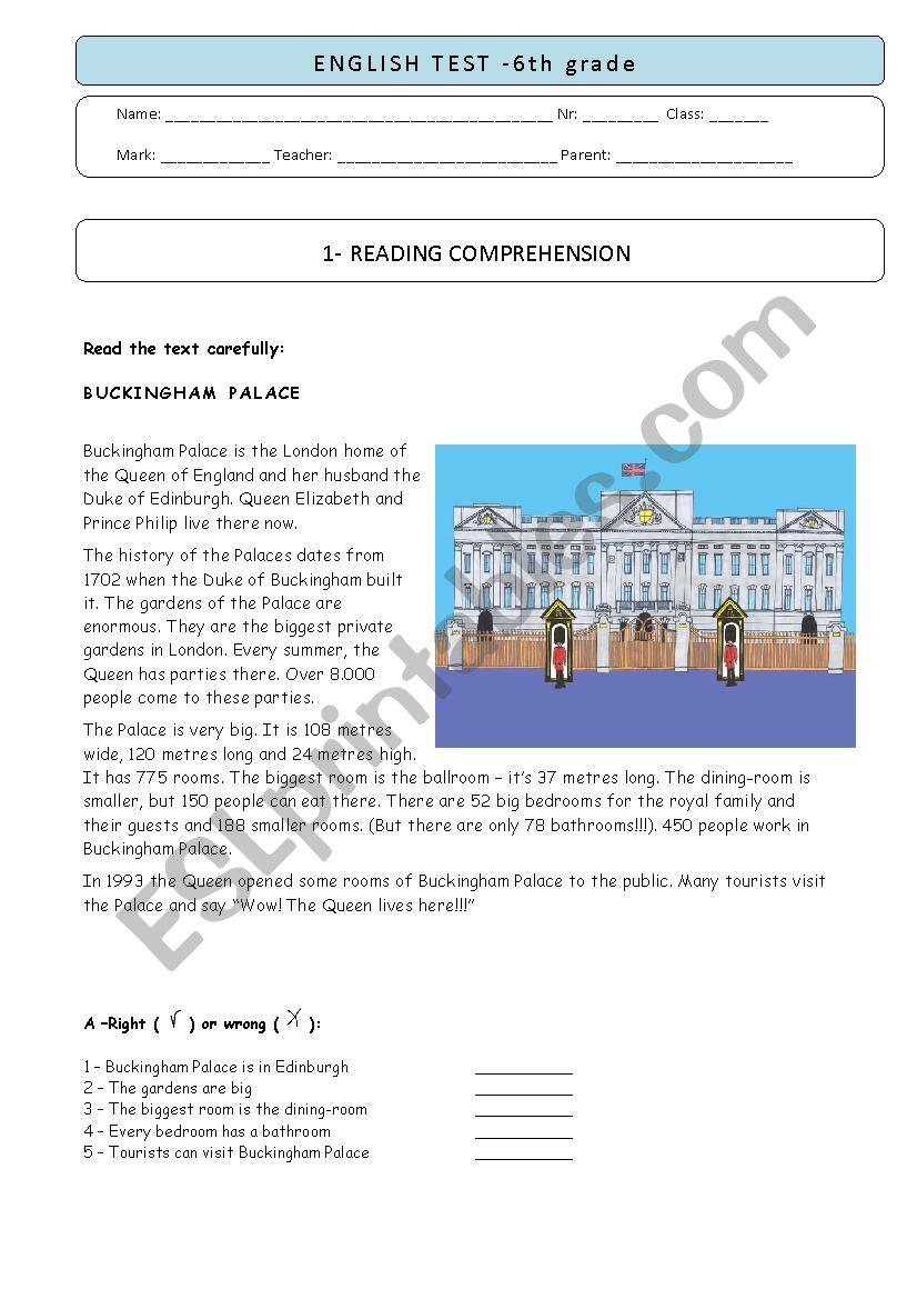 6th grade test - BUCKINGHAM PALACE
