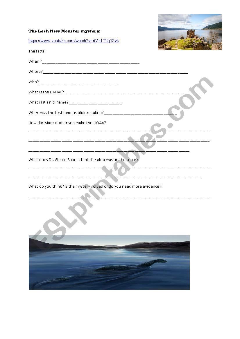 The Loch Ness Monster mystery worksheet