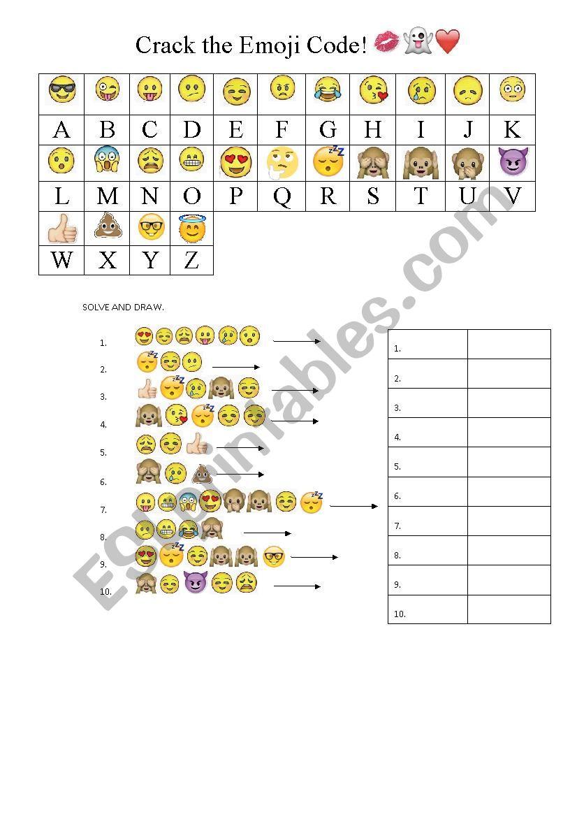 Emoji Code Esl Worksheet By Normag2021