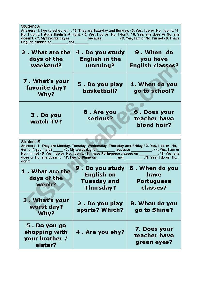 Simple Present Tic Tac Toe worksheet