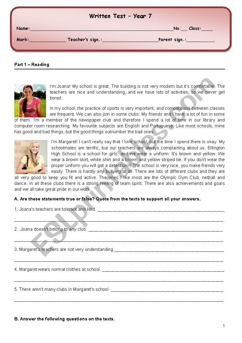 School /School life test worksheet