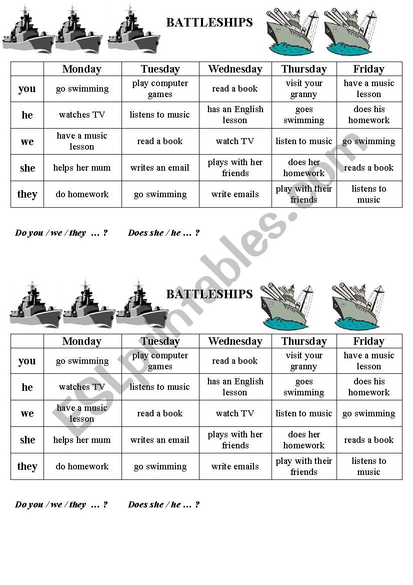 After school activities (battleship)