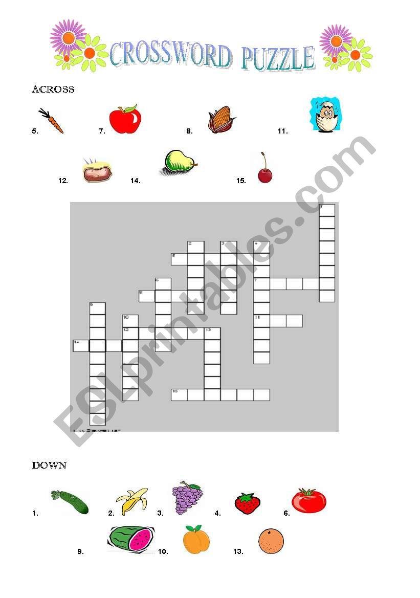 COUNTABLE  FOODCROSSWORD worksheet