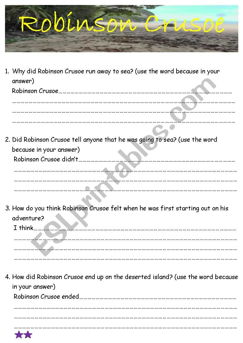 Robinson Crusoe Ch 1 & 2 comprehension questions with basic writing frame